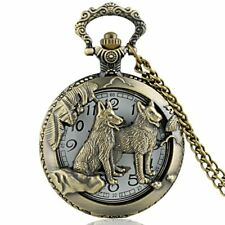 Bronze Dog Pattern Vintage Pocket Watch Antique Quartz Necklace Pendant Chain