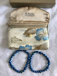 Honora Pearl Collection - Set of 2 Stretch Bracelets - Blue Pearls