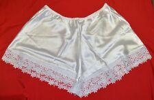 Satin French Knickers Briefs Lace Underwear White Sissy Plus size XXOS (26) 003