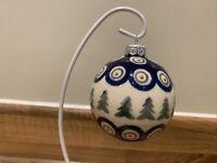 Medium Christmas bauble Handmade Polish pottery Boleslawiec