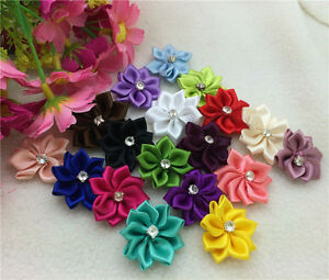 FREE SHIPPING 50pcs Satin Ribbon mix Flower with Crystal Bead Appliques@3