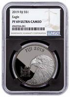2019 Fiji Blackened Eagle 1 oz Ruthenium Plt Silver $1 NGC PF69 UC Blk SKU57999