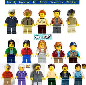 Lego Minifigure Dad Mom Daughter Son Grandma Grandpa Family Man Woman Child NEW
