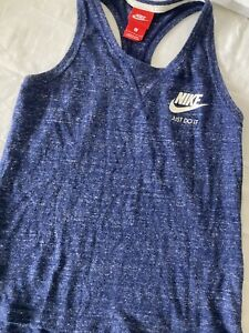 Nike Large Blue Women's Just Do It Razor Back Tank Top