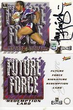 2001 NRL IMPACT FUTURE FORCE SIGNATURE CARD - FF1 HENRY FAAFILI WARRIORS