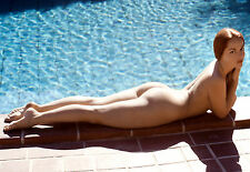 1960s Nude D. Webber Lying along pool side 7.5 x 11 Photograph
