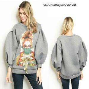 Retro Haute BOHO Gray Scuba Ponte Balloon Sleeve Oversized Sweater Top S M L XL