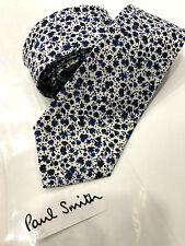 Paul Smith Tie 7cm Blue Multicolour Floral Narrow Tie 100% Silk Made in Italy