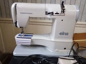 2 Machines à coudre ELNA, une Supermatic et une Spécial, nombreux accessoires