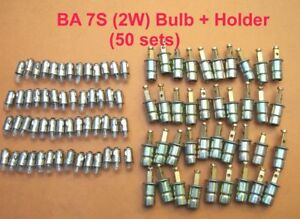 Ba 7s Bulb + Holders (50 pcs ) for vintage car,tractors,speedos, instruments