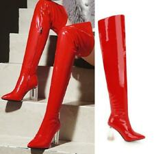 Women's Crystal /Metal Heel Mirror Pattern Over Knee High Boots Pointed Clubwear