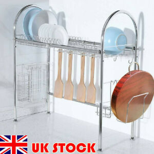 UK Kitchen Over The Sink Dish Drainer Plate Bowl Cup Drying Rack Stainless Steel