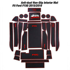 2015 2016 For Ford F-150 Custom Fit Cup Holder, Door Liner Accessories Red Trim