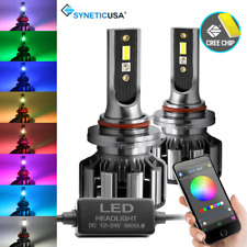 9005 CREE LED CSP Headlight Fog Light Low Beam + RGB Bluetooth Phone Control