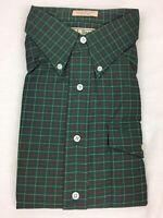 NEW VTG LL Bean Men's L/S Flannel Button Down Shirt 17.5 Green & Burgundy Plaid