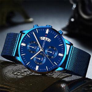 Fashion Geneva Men's Large Face Stainless Steel Wrist Watch Mesh Belt Watches