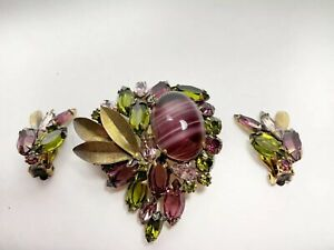 By Lang Mid Century Mod  Rhinestone  PinBrooch Earrings Set Vintage Green Purple