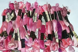Lot of 50 Skeins DMC Embroidery Floss Thread Shades of Pink NEW