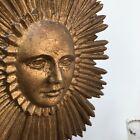 Vintage MCM Gilt Sputnik Starburst Sculpture Brutalist Plaque Retro Face