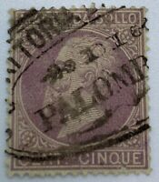 1872 ITALY REVENUE STAMP WITH INTERESTING OVAL PALOMBARA SON CANCEL