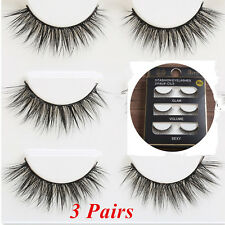3Pairs Black 100% Real Mink Natural Cross Long Thick Eye Lashes False Eyelashes