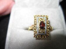 Antique Victorian 18k Yellow Gold Filigree Garnet Ring, size 8.25