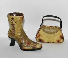 Jc Penney Casual Boot Snakeskin Leather Stitch High Heel Shoe Handbag Ornaments