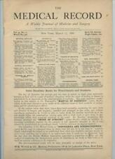 3/17 1888 New York Medical Record Journal Medicine Surgery Doctor Trade Magazine