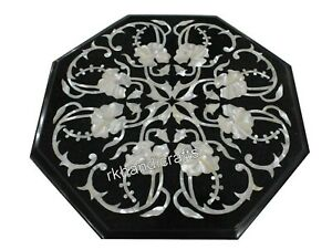 Mother of Pearl Inlaid Handmade Coffee Table Top Marble End Table Size 13 Inches