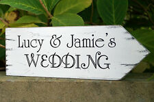 LARGE Wedding Direction Arrow Personalised Vintage Wedding Venue Sign