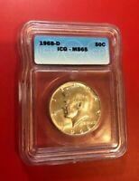 1968 D 50c Kennedy Demi Dollar ICG Ms