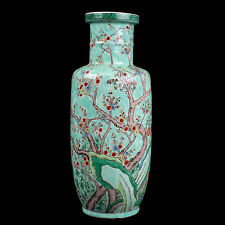 China 20. Jh. - A Chinese Turquoise Ground Rouleau Prunus Vase - Chinois Cinese