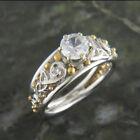 Women Elegant White Sapphire 925 Silver Gold Ball Ring Wedding Jewelry Gift
