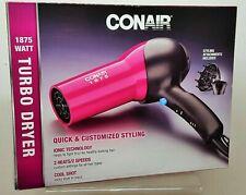 Conair 1875 Watt Turbo Styler Hair Dryer Ionic w/ Cool Shot 146WNPR Pink A034