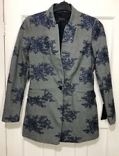 Zara Inverted Lapel Checked Floral Embroidered Frock Coat Jacket Size M