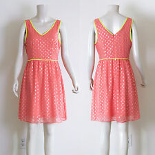 Romeo & Juliet Couture - Medium V-neck Polka-Dot Dress, Coral