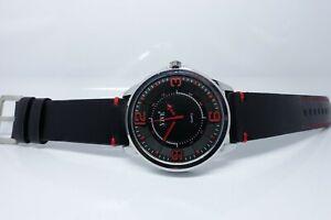 Vive Uhr Armbanduhr Neu Edelstahl Leder Schwarz Rot Silber