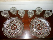 """Vintage 2 Wexford Divided Relish Tray Crystal 11"""" w/ 6 Sherbet Dessert Glass"""
