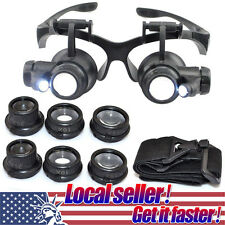 TX Double Eye Jewelry Watch Repair Magnifier Loupe Glasses&LED Light 8 Lens ol