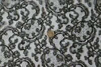"Beautiful French Antique Silk Black Chantilly Lace Yardage c1920-1930~169"" X 23"""
