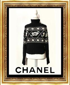Chanel  Black White Camellia Sweater FR42.  95A Ski Cashmere Knit No.94305