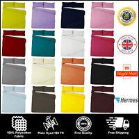 Plain Dyed Duvet Quilt Cover Set Poly-Cotton Bedding Set Single Double King Size