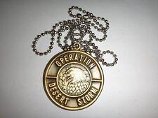 OPERATION DESERT STORM Metal Badge + Stainless Steel Ball Chain