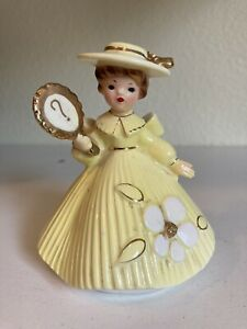 Josef Original Figurine Girl in Yellow Dress, Hat Holding ? Sign Gold Trim As Is