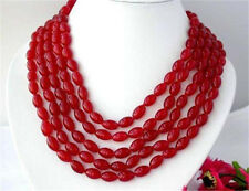 BEAUTIFUL!SUPER LONG 100 INCH NATURAL RICE-SHAPED RED RUBY GEMS BEADS NECKLACE