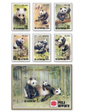 KASKOR91071 The Panda Bear 6 STAMPS AND BLOCK CANCELED KOREA 1991