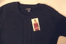 NEW NAUTICA Women's Single Cable Knit Tunic Sweater Navy M