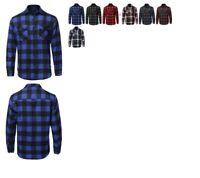 FashionOutfit Men's Casual Flannel Long Sleeves Plaid Checker Shirt