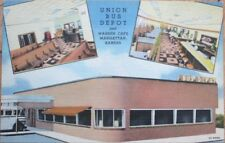 Manhattan, KS 1940s Linen Postcard: Union Bus Depot & Warren Cafe/Restaurant