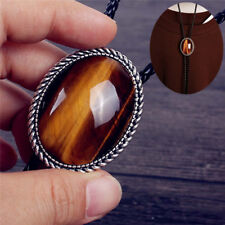 "Western Cowboy Tiger's Eye Stone Mens Bolo Tie Slide Clip 40"" PU Leather Rope"